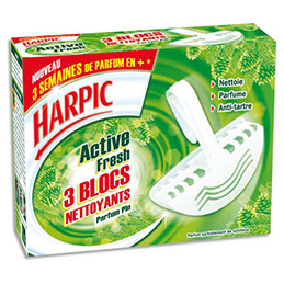 Bloc cuvette WC Harpic - fraicheur pin - boîte de 3 blocs (photo)