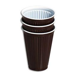 Gobelets en plastique marrons pour boissons chaudes - 18 cl - sachet de 100 (photo)