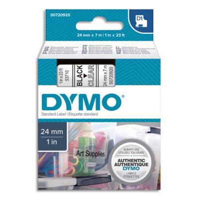Ruban Dymo D1 - 53710 - Ruban noir/transparent - 24 mm x 7m