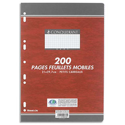 Feuillets mobiles - 21x29.7 cm - 200 pages - petits carreaux - blancs papier - 90g - sous étuis