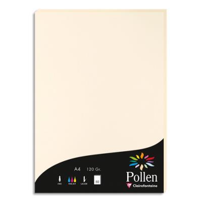 Papier Pollen ivoire - 120 g - format A4 21 x 29,7 cm - paquet de 50 feuilles