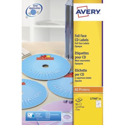 Etiquettes Avery L7760 - pour CD et DVD - impression laser couleur - boîte de 50