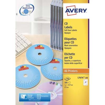 Boîte de 200 étiquettes Avery pour CD et DVD - Impression laser monochrome - L7676 (photo)
