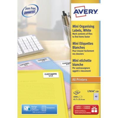 Etiquette mini-adresse L7654 - 46 x 25 mm - impression laser - blanc - boîte de 4000 (photo)