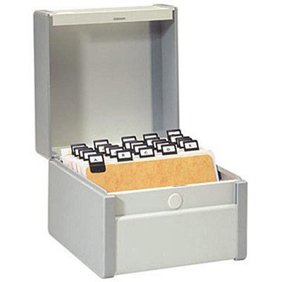 Boîte à fiches métal - fichier en largeur - 190 x 230 mm - gris (photo)