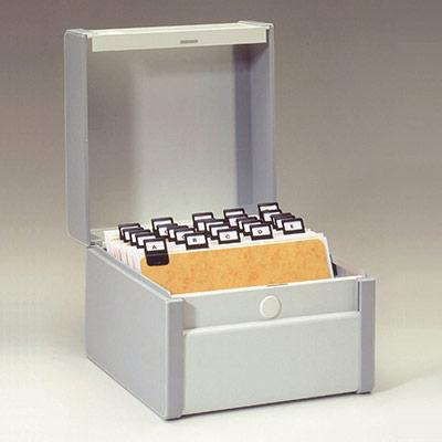 Boîte à fiches métal - fichier en largeur - 140 x 170 mm - gris (photo)
