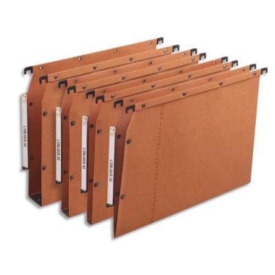 Dossiers suspendus AZV en carte Canson orange - pour armoire - fond 30 mm - paquet de 25 (photo)