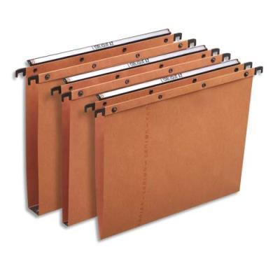 Dossiers suspendus AZO en carte Canson orange - pour tiroir - dos V - paquet de 25 (photo)