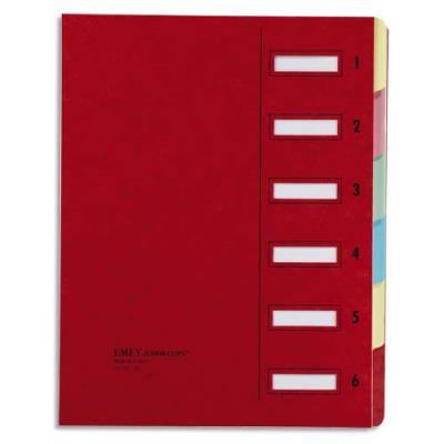 Trieur Emey-Junior clip - clips de serrage - 6 compartiments - 25 x 32 cm - rouge