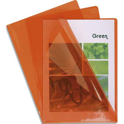Boîte de 100 pochettes coin Claircell - en PVC 14/100 ème - coloris orange (photo)