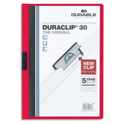 Chemise de présentation à clip Duraclip A4 - capacité 30 feuilles - coloris rouge (photo)