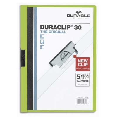 Chemise de présentation à clip Duraclip A4 - Capacité 30 feuilles - coloris vert. (photo)