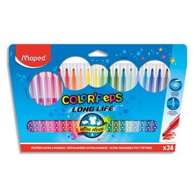 Pochette de 24 feutres de coloriage Maped Color Peps - pointe moyenne - coloris assortis
