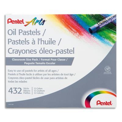 Boîte de 432 pastels à l'huile Pentel diamètre 8 mm, couleurs assorties (photo)