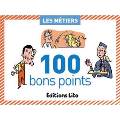 Boîte de 100 bons points thèmes les métiers avec texte pédagogique format 6,2x8,2cm (photo)
