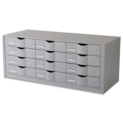 Bloc classeur 12 tiroirs Fastpaperflow - gris - L. 81,3 x H. 32,9 x P.34,2 cm (photo)