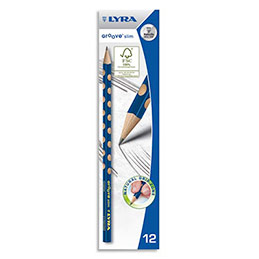 Crayons graphite triangulaires Lyra Groove Slim avec grip zone pour gauchers et droitiers mine HB (photo)