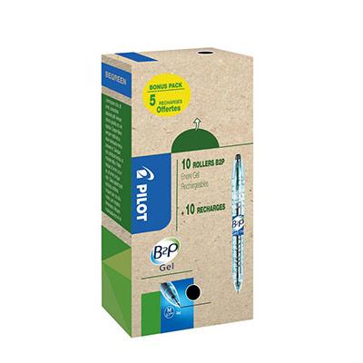 Eco pack Pilot B2P Begreen - stylo bille rétractable - pointe moyenne 0,7 mm - corps noir transparent avec zone de préhension - encre noire - 10 stylos + 10 recharges dont 5 offertes - boîte 20 unités (photo)