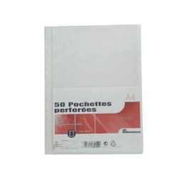 Pochettes perforées - polypropylène 9/100ème - A4 - sachet de 50 (photo)