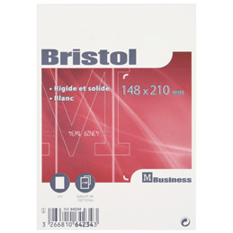 Fiches bristol non perforées -  carte forte 210 g - 14,8x21 cm - blanc uni - paquet de 100 (photo)