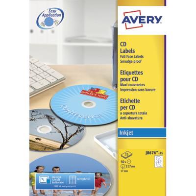 Bo�te de 50 Etiquettes CD / DVD Avery - Impression Jet d'encre - diam�tre 117 mm - J8676
