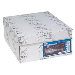 Enveloppes 110x220 - fenêtre 45x100 - blanches - bande de protection - 90 g - boîte de 500 (photo)
