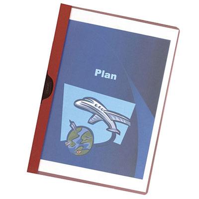 Chemise de présentation à clip - A4 - 30 feuilles - couverture PVC transparente - dos rouge (photo)