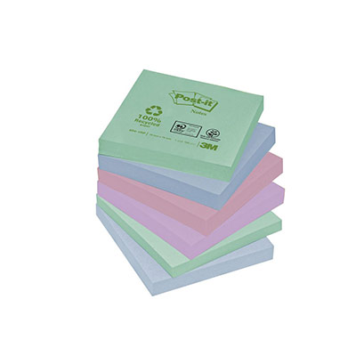 Blocs de notes repositionnables - 75 x 75 mm - 100 feuilles - couleurs pastels assorties (photo)