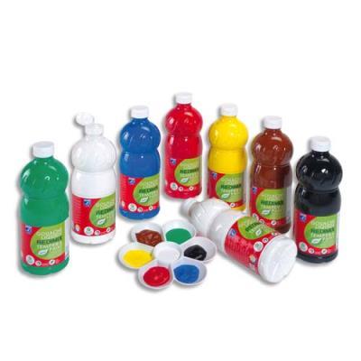 8 litres de gouache : jaune d'or,vermillon,carmin,rose tyrien,violet,bleu primaire,turquoise,vert clair (photo)