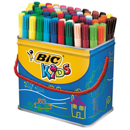 Maxi pot de 84 feutres de coloriage Visa Bic Kids - pointe fine - couleurs assorties (photo)