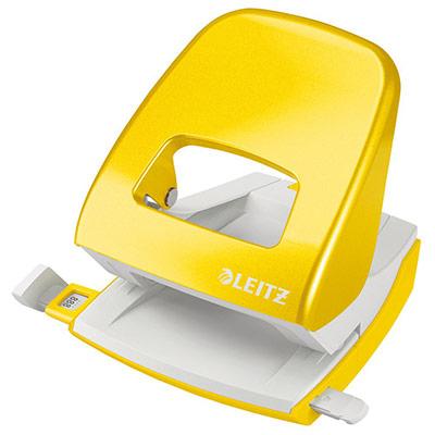 Perforateur 2 trous de bureau Leitz WOW - 3 mm/30 feuilles - jaune métallisé (photo)