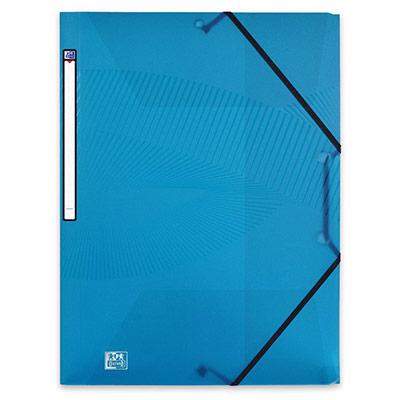 Chemise 3 rabats à élastiques Oxford Osmose A4 en polypropylène - bleu turquoise translucide (photo)