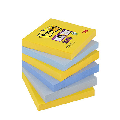 Bloc de notes Post-It Super Sticky carré 76 x 76 mm - collection multicolore New York - 90 feuilles (photo)