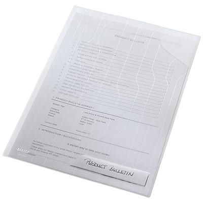 Pochette perforée gaufrée Esselte - A4 - polypropylène 200 microns - 11 trous - blanc transparent (photo)
