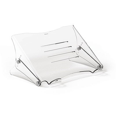 Support pour ordinateur portable Fellowes Clarity - réglable en hauteur - en acrylique transparent (photo)