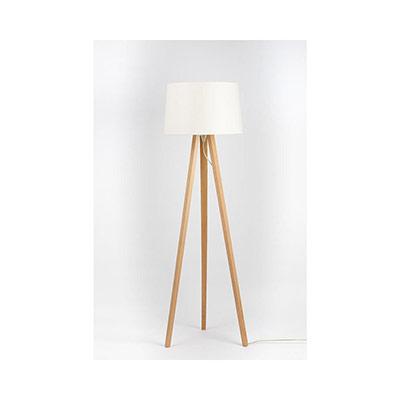 Lampadaire LED Essence - puissance 40W - culot E27 - trépied bois - abat-jour ivoire (photo)