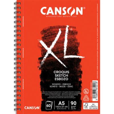 Bloc de 60 feuilles papier dessin Croquis XL Canson - spirale grand côté - 90g - A5 - album de 60 feuilles (photo)