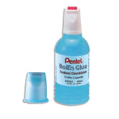 Colle synthétique transparente Pentel Roll'n Glue - flacon roulette 55 ml ecole