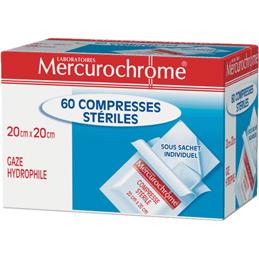 Compresses stériles Mercurochrome - 20x20cm - boîte de 60 (photo)