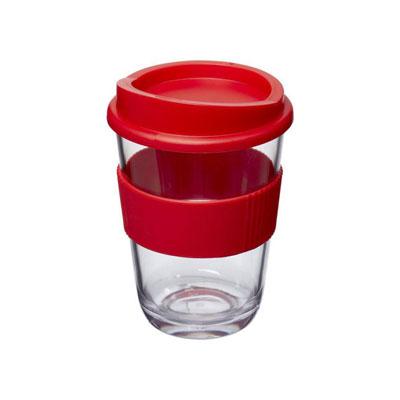 Gobelet style verre transparent avec grip et couvercle - rouge (photo)