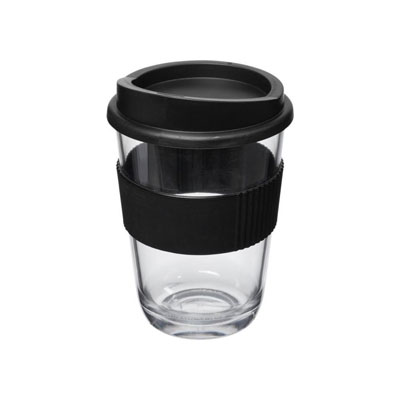 Gobelet style verre transparent avec grip et couvercle - noir (photo)