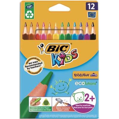 Étui de 12 crayons de couleurs Bic Évolution triangulaire - pointe moyenne. (photo)