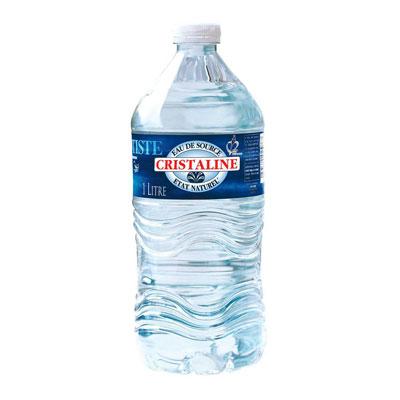 Eau de source naturelle plate Cristaline - bouteille 1 L - palette 126 packs de 6 bouteilles (photo)