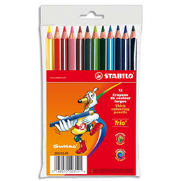 Etui de 12 crayons de couleurs Trio long Stabilo - mine large - coloris assortis (photo)
