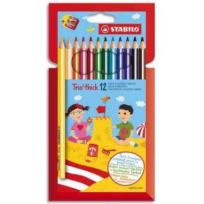 Etui de 12 crayons de couleurs Trio long Stabilo - mine large - coloris assortis