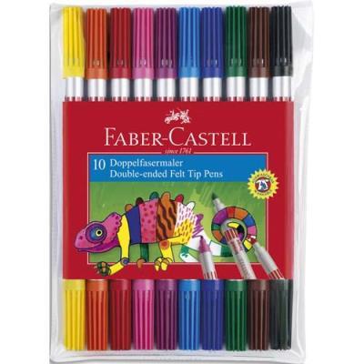 Pochettes de 10 feutres de coloriage Faber-Castell - double pointe fine et moyenne - coloris assortis (photo)