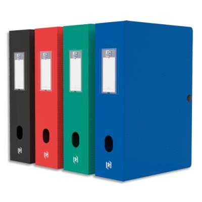 Boîte de classement Elba Boxing - polypropylène 7/10è - dos 80 mm - format 24 x 32 cm - coloris assortis classiques :Bleu, rouge, noir, vert