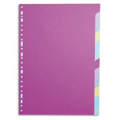 Intercalaires touches neutres 1er prix - carte 170 g - format A4+ - 12 positions - coloris assortis