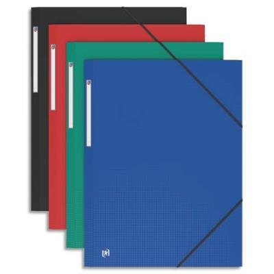 Chemise 3 rabats et élastique Elba - format A3 33 x 43 cm -  polypropylène 7/10e - coloris assortis (photo)