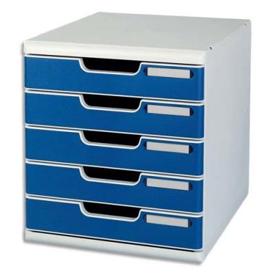 Module de classement Modulo Exacompta - 5 tiroirs - gris/bleu